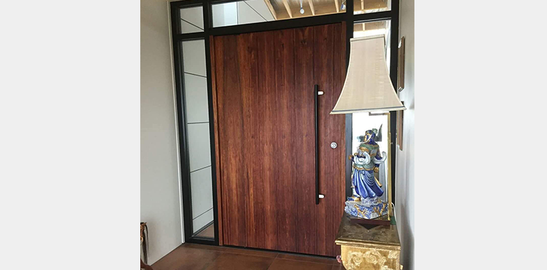 modern timber pivot door