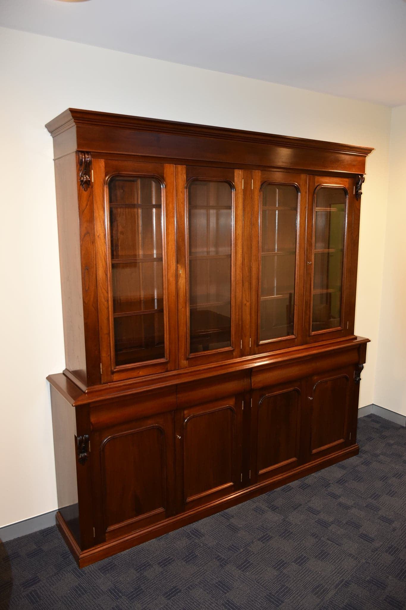 french polished victorian style cedar bookcase